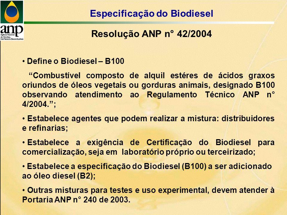 Define o Biodiesel – B100 Combustível composto de alquil estéres de ácidos graxos oriundos de óleos vegetais ou gorduras animais, designado B100 observando atendimento ao Regulamento Técnico ANP n° 4/2004.; Estabelece agentes que podem realizar a mistura: distribuidores e refinarias; Estabelece a exigência de Certificação do Biodiesel para comercialização, seja em laboratório próprio ou terceirizado; Estabelece a especificação do Biodiesel (B100) a ser adicionado ao óleo diesel (B2); Outras misturas para testes e uso experimental, devem atender à Portaria ANP n° 240 de 2003.