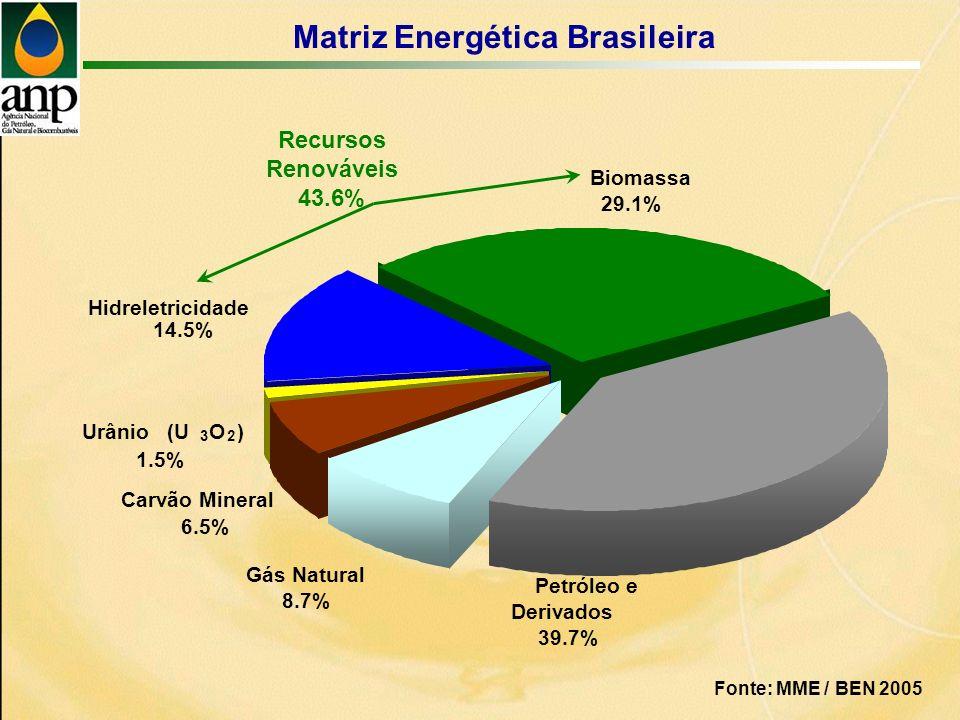 Matriz Energética Brasileira Biomassa 29.1% Petróleo e Derivados 39.7% Gás Natural 8.7% Carvão Mineral 6.5% Hidreletricidade 14.5% Urânio (U 3 O 2 ) 1.5% Recursos Renováveis 43.6% Fonte: MME / BEN 2005