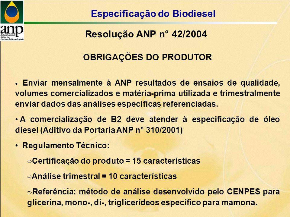 OBRIGAÇÕES DO PRODUTOR Enviar mensalmente à ANP resultados de ensaios de qualidade, volumes comercializados e matéria-prima utilizada e trimestralmente enviar dados das análises específicas referenciadas.