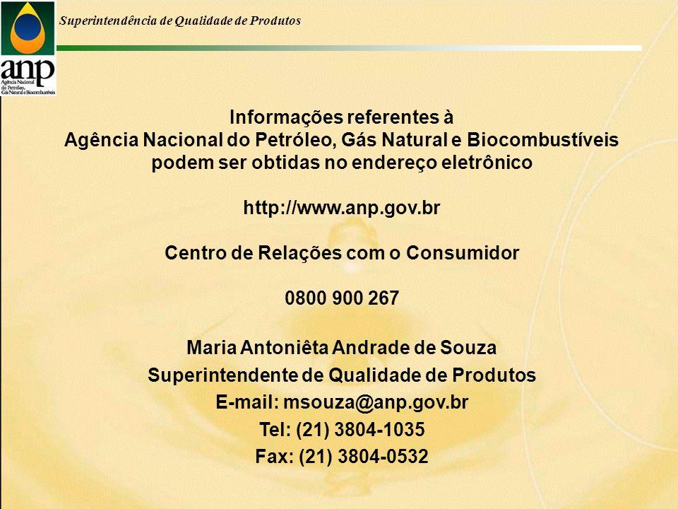Informações referentes à Agência Nacional do Petróleo, Gás Natural e Biocombustíveis podem ser obtidas no endereço eletrônico http://www.anp.gov.br Centro de Relações com o Consumidor 0800 900 267 Maria Antoniêta Andrade de Souza Superintendente de Qualidade de Produtos E-mail: msouza@anp.gov.br Tel: (21) 3804-1035 Fax: (21) 3804-0532 Superintendência de Qualidade de Produtos