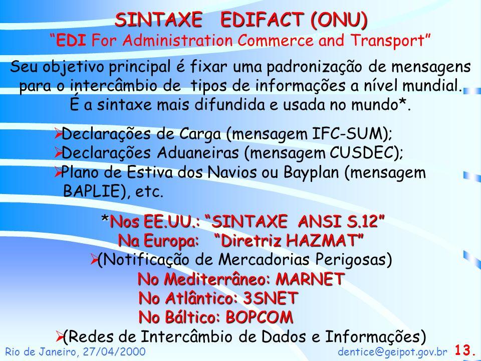 dentice@geipot.gov.brRio de Janeiro, 27/04/2000 Seu objetivo principal é fixar uma padronização de mensagens para o intercâmbio de tipos de informaçõe