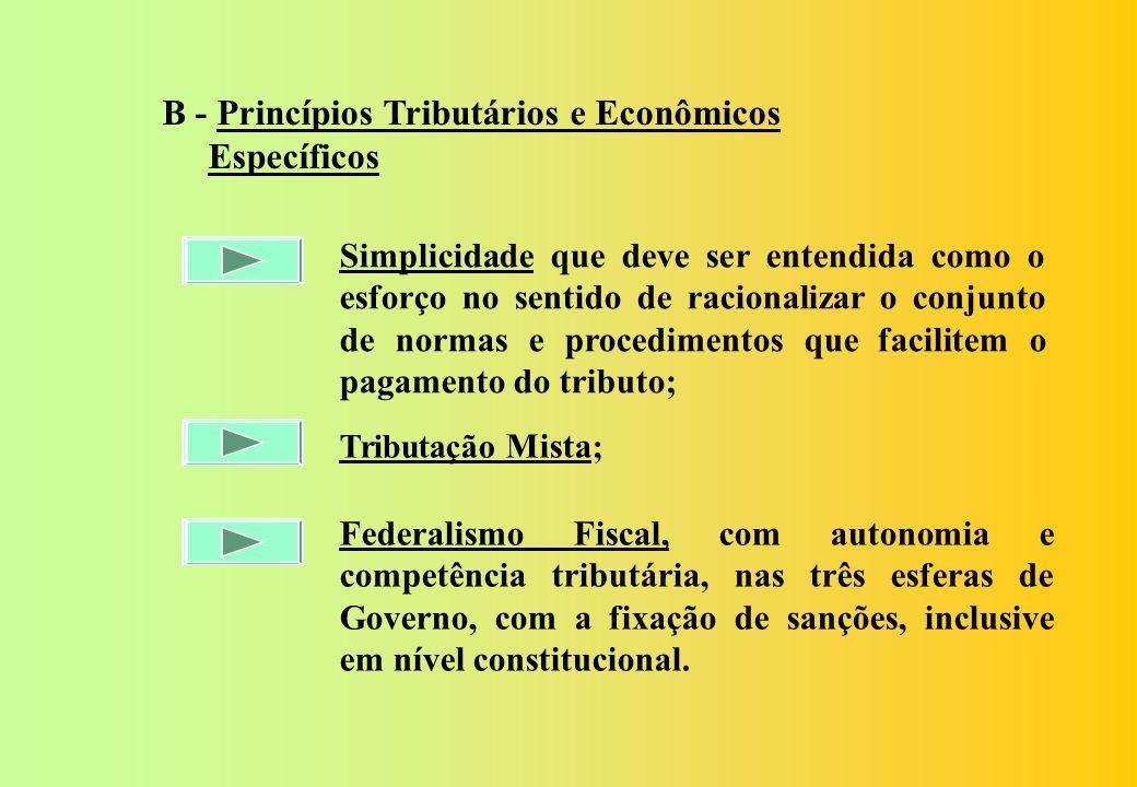 1 - PRINCÍPIOS: A) Princípios Tributários e Econômicos Clássicos: Eqüidade; Neutralidade; Progressividade; Capacidade Contributiva; Legalidade; Anterioridade; Isonomia; Irretroatividade; Seletividade; Não Cumulatividade; Imunidade Recíproca e Não Confisco.