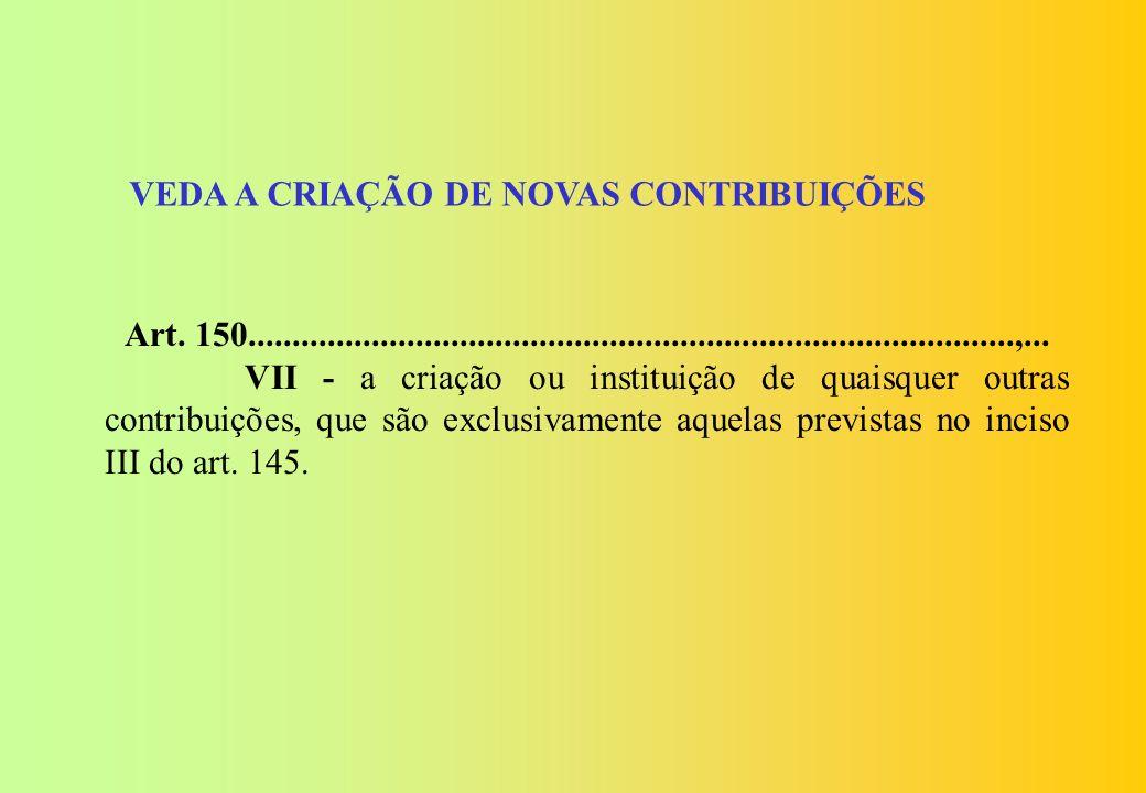 Seção II Das Limitações ao Poder de Tributar (vedação de criação de novas contribuições)