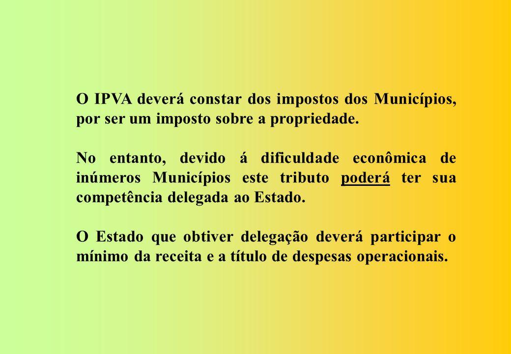Art. 156. Compete aos Municípios e ao Distrito Federal instituir impostos sobre: I – propriedade predial e territorial urbana; II – propriedade territ