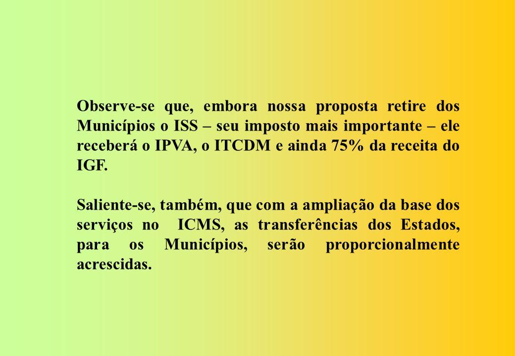 O IPVA deverá constar dos impostos dos Municípios, por ser um imposto sobre a propriedade.