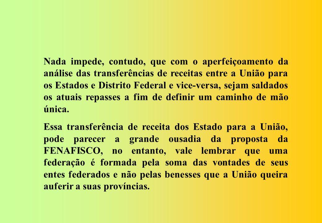 A repartição de receita da União para com com os Estados, Distrito Federal e os Municípios, serão restringidas aos repasses atuais. A repartição de re