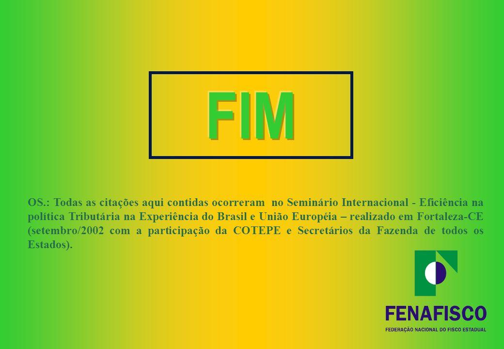 VI – Por fim, com a proposta de Reforma Tributária da FENAFISCO ficam restauradas a harmonia e a racionalidade, do Sistema Tributário Nacional, que pa