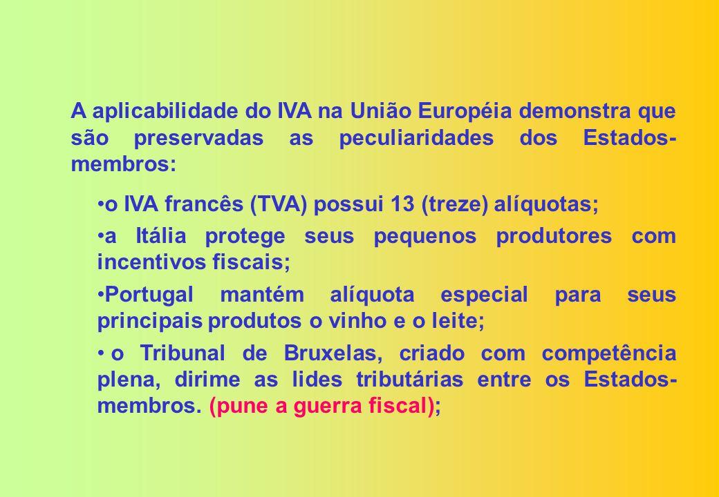 As desculpas mais recorrentes da União, para centralizar os impostos sobre o consumo, notadamente, em relação com o IVA dos países europeus, são: Grande diversificação de alíquotas e de base de cálculo (diversificação de alíquotas); A concessão de benefícios fiscais (guerra fiscal); 27 legislações do ICMS (complexidade).