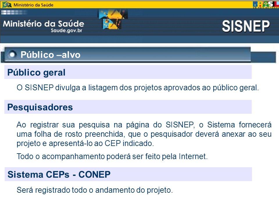Público –alvo Público geral O SISNEP divulga a listagem dos projetos aprovados ao público geral. Pesquisadores Ao registrar sua pesquisa na página do