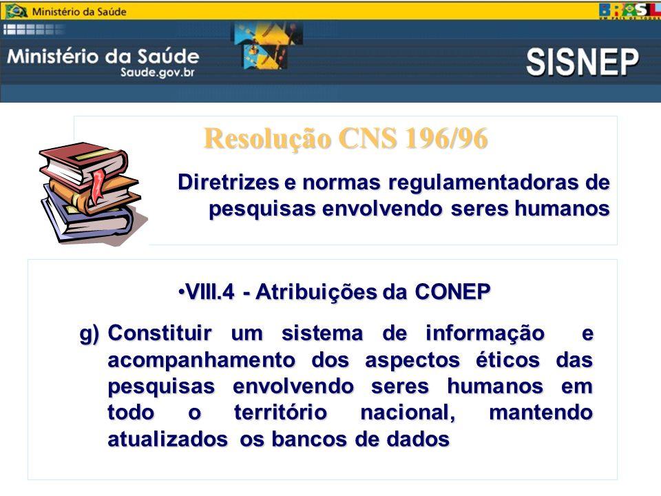 Resolução CNS 196/96 Diretrizes e normas regulamentadoras de pesquisas envolvendo seres humanos VIII.4- Atribuições da CONEPVIII.4 - Atribuições da CO