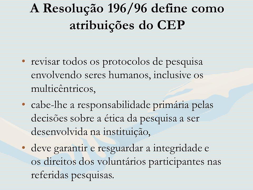 A Resolução 196/96 define como atribuições do CEP revisar todos os protocolos de pesquisa envolvendo seres humanos, inclusive os multicêntricos,revisa