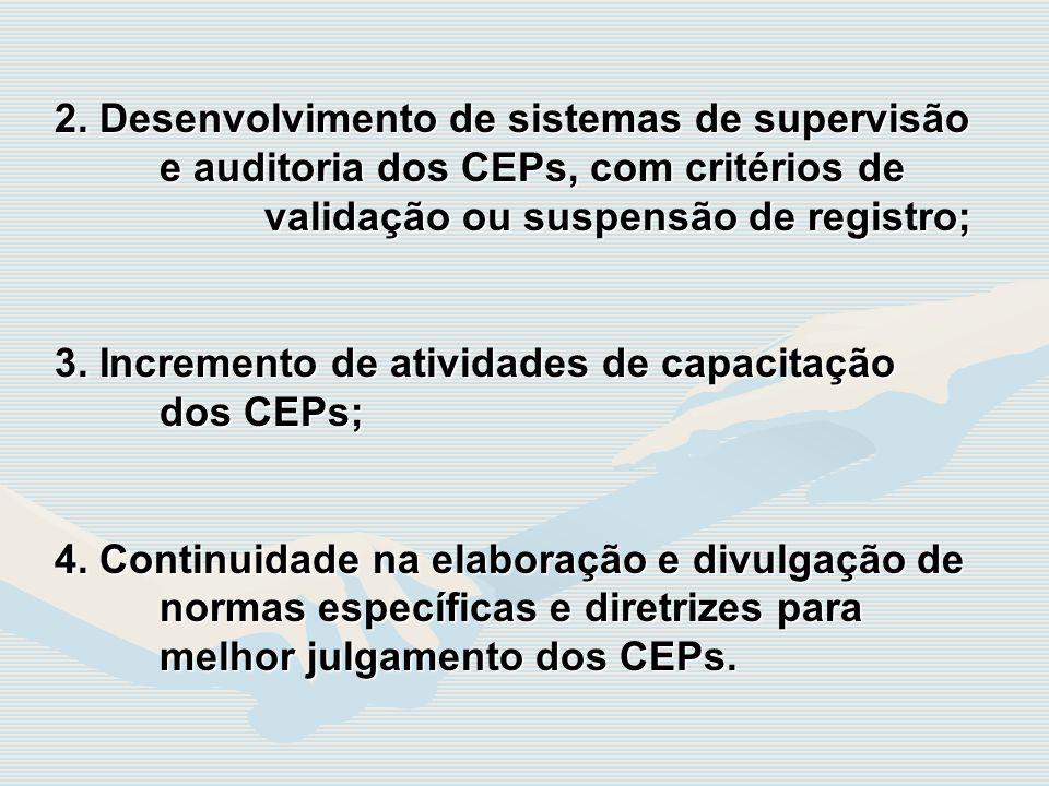 2. Desenvolvimento de sistemas de supervisão e auditoria dos CEPs, com critérios de validação ou suspensão de registro; 3. Incremento de atividades de