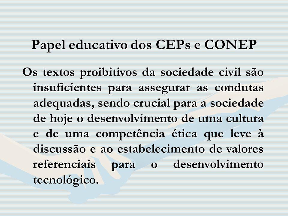 Papel educativo dos CEPs e CONEP Os textos proibitivos da sociedade civil são insuficientes para assegurar as condutas adequadas, sendo crucial para a