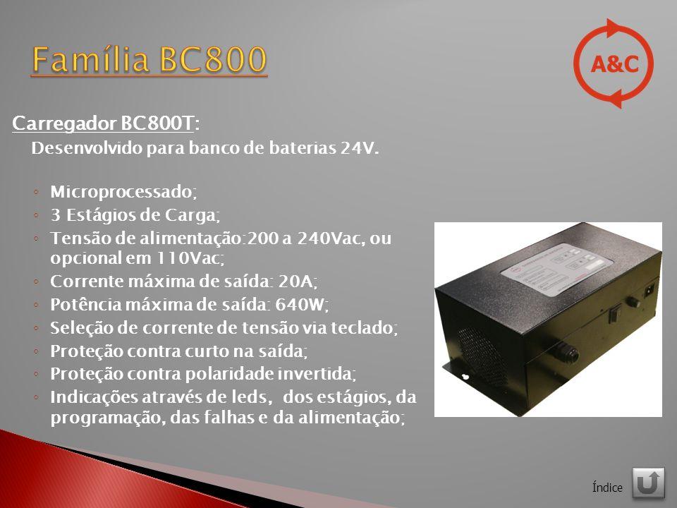 Carregador BC800T: Desenvolvido para banco de baterias 24V.
