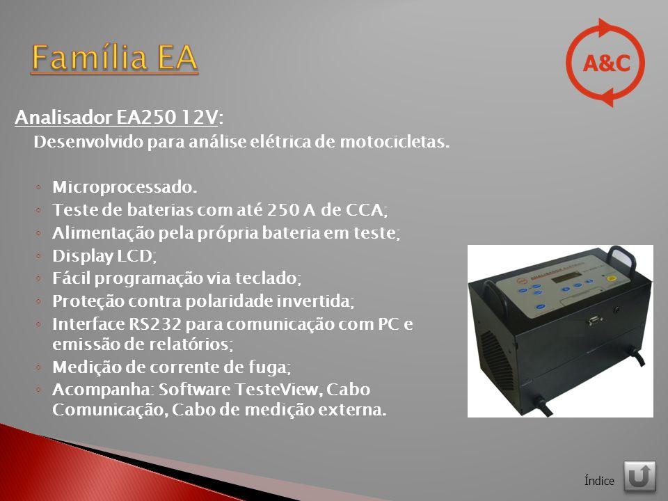 Analisador EA250 12V: Desenvolvido para análise elétrica de motocicletas.