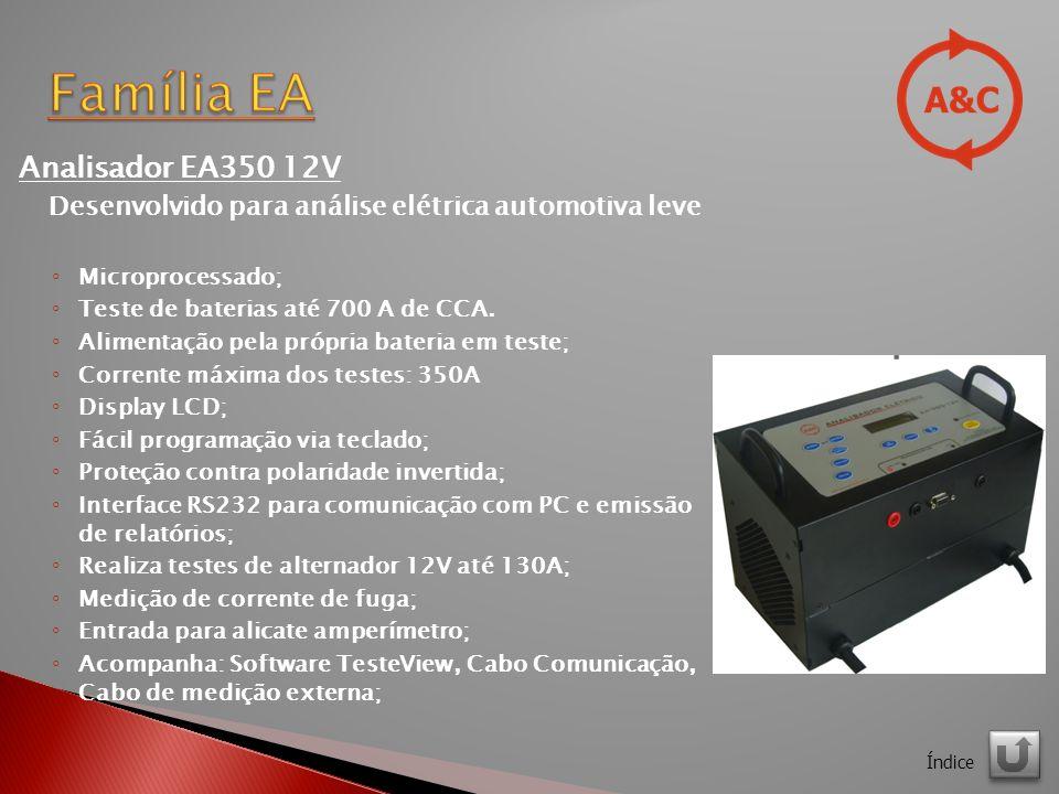 Analisador EA350 12V Desenvolvido para análise elétrica automotiva leve Microprocessado; Teste de baterias até 700 A de CCA.