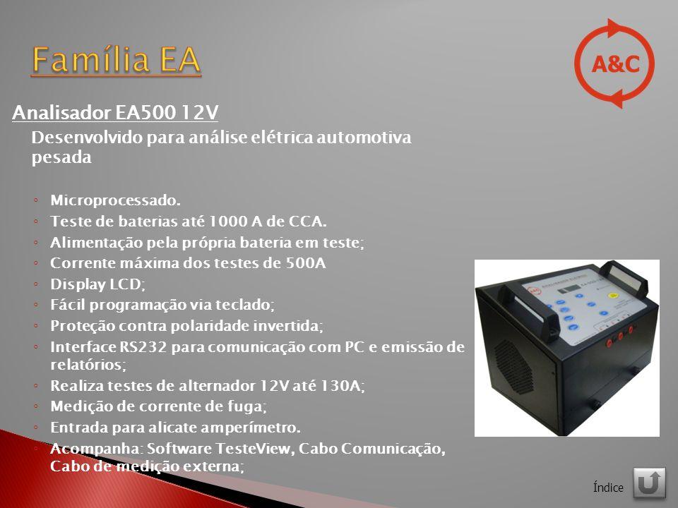 Analisador EA500 12V Desenvolvido para análise elétrica automotiva pesada Microprocessado.