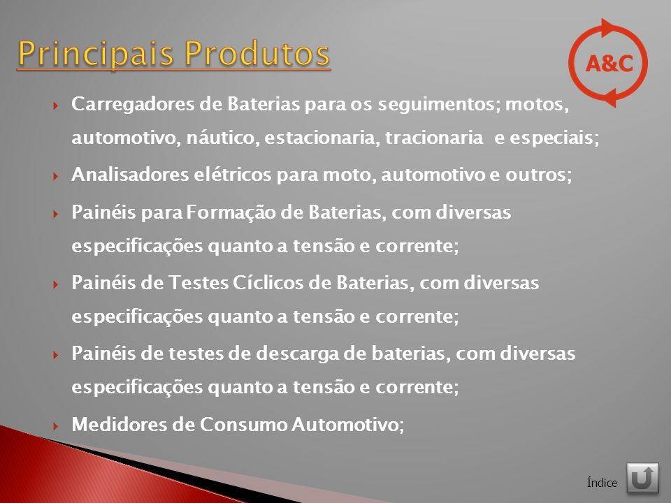 Carregadores de Baterias para os seguimentos; motos, automotivo, náutico, estacionaria, tracionaria e especiais; Analisadores elétricos para moto, automotivo e outros; Painéis para Formação de Baterias, com diversas especificações quanto a tensão e corrente; Painéis de Testes Cíclicos de Baterias, com diversas especificações quanto a tensão e corrente; Painéis de testes de descarga de baterias, com diversas especificações quanto a tensão e corrente; Medidores de Consumo Automotivo; Índice