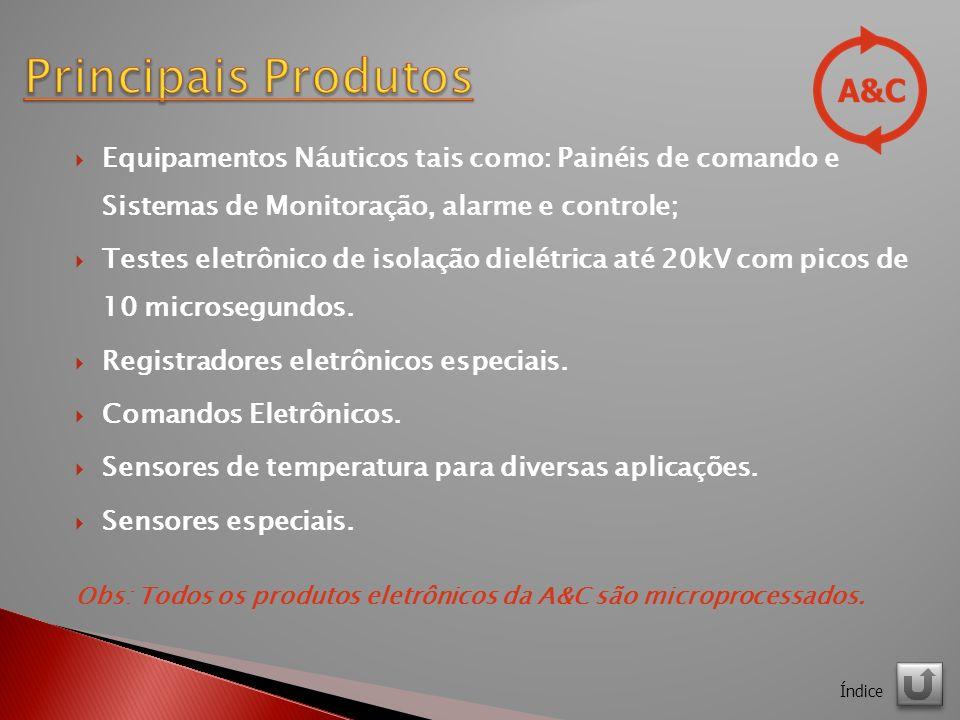 Equipamentos Náuticos tais como: Painéis de comando e Sistemas de Monitoração, alarme e controle; Testes eletrônico de isolação dielétrica até 20kV com picos de 10 microsegundos.