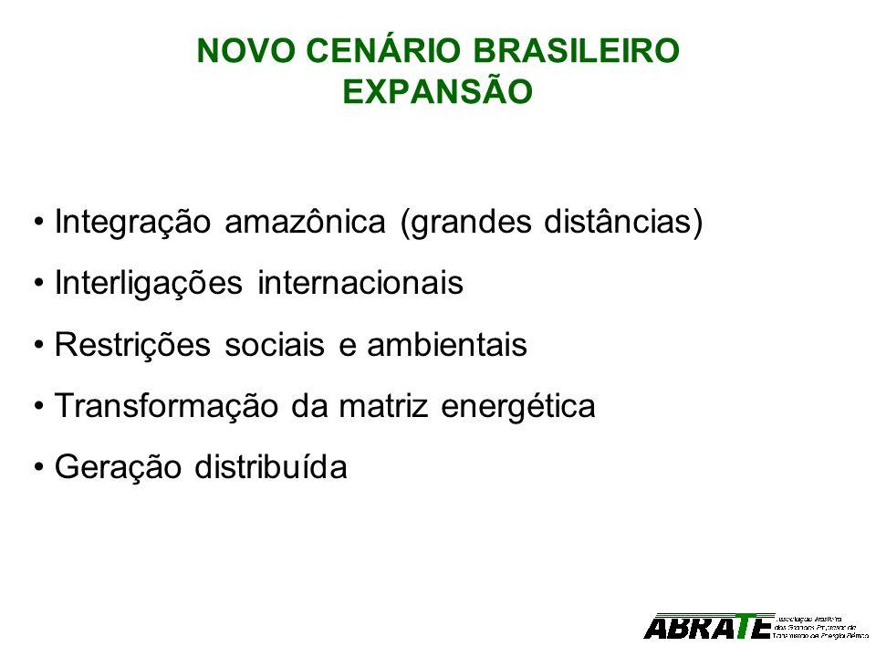 NOVO CENÁRIO BRASILEIRO EXPANSÃO Integração amazônica (grandes distâncias) Interligações internacionais Restrições sociais e ambientais Transformação