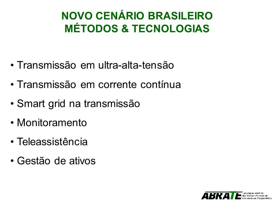NOVO CENÁRIO BRASILEIRO MÉTODOS & TECNOLOGIAS Transmissão em ultra-alta-tensão Transmissão em corrente contínua Smart grid na transmissão Monitorament