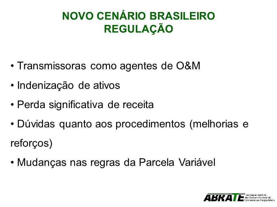 NOVO CENÁRIO BRASILEIRO REGULAÇÃO Transmissoras como agentes de O&M Indenização de ativos Perda significativa de receita Dúvidas quanto aos procedimen
