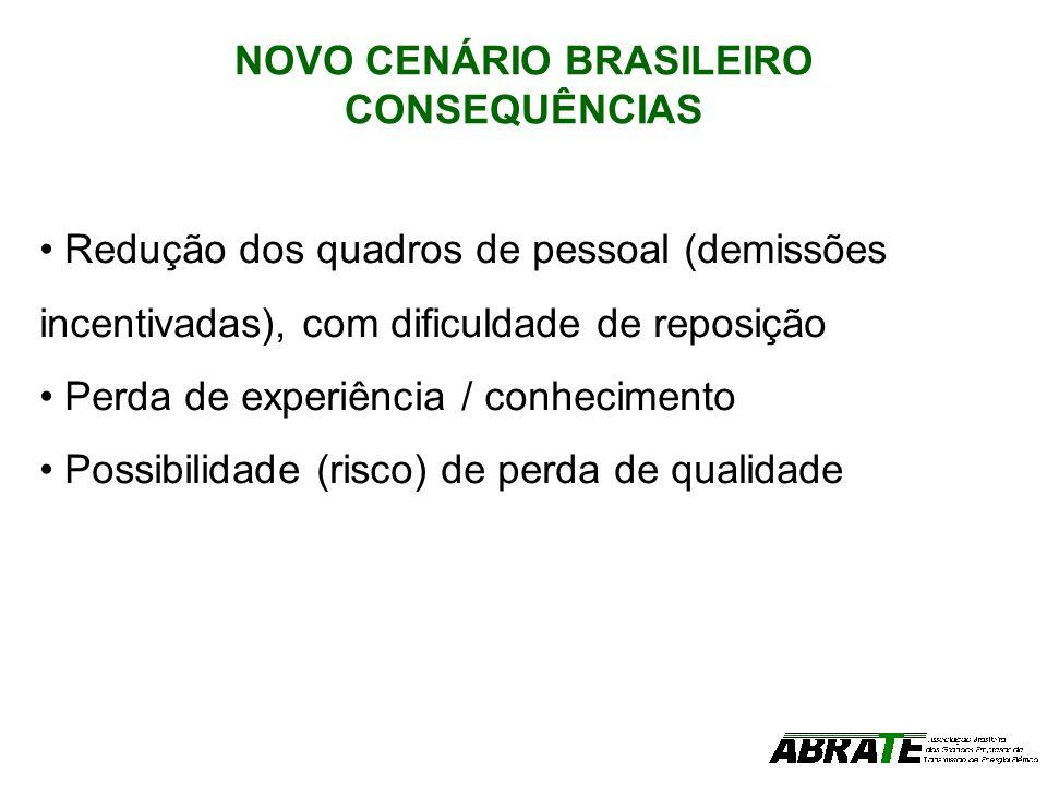 NOVO CENÁRIO BRASILEIRO CONSEQUÊNCIAS Redução dos quadros de pessoal (demissões incentivadas), com dificuldade de reposição Perda de experiência / con