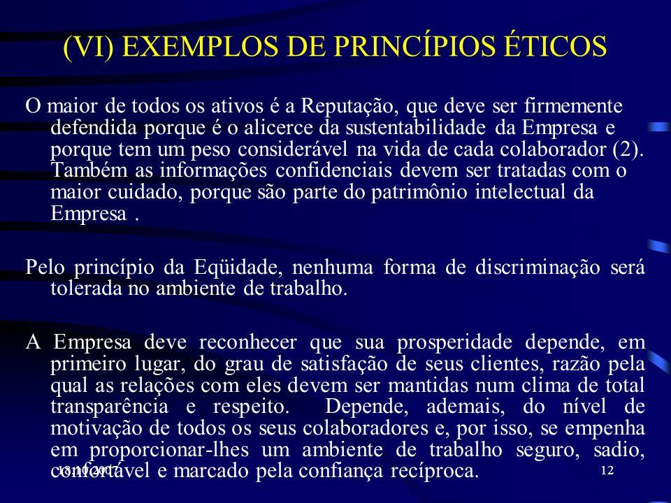 18.10.200712 (VI) EXEMPLOS DE PRINCÍPIOS ÉTICOS O maior de todos os ativos é a Reputação, que deve ser firmemente defendida porque é o alicerce da sus