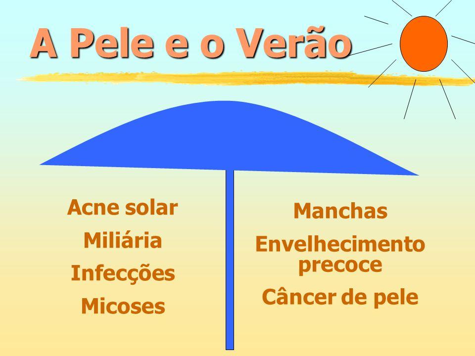Acne solar Miliária Infecções Micoses Manchas Envelhecimento precoce Câncer de pele A Pele e o Verão