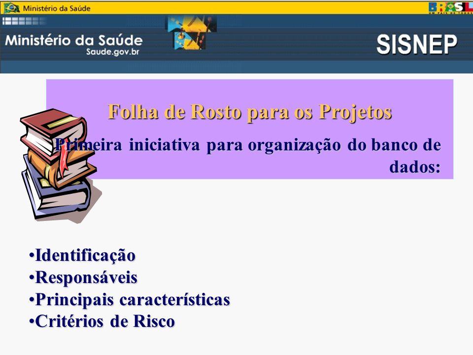 Folha de Rosto para os Projetos Primeira iniciativa para organização do banco de dados: IdentificaçãoIdentificação ResponsáveisResponsáveis Principais característicasPrincipais características Critérios de RiscoCritérios de Risco