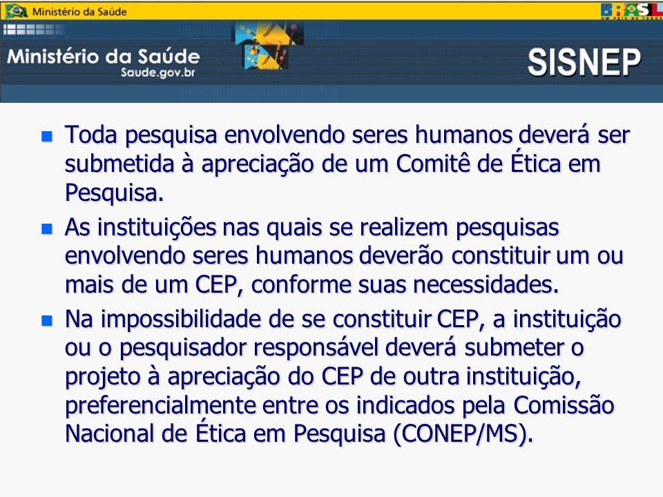 n Toda pesquisa envolvendo seres humanos deverá ser submetida à apreciação de um Comitê de Ética em Pesquisa.