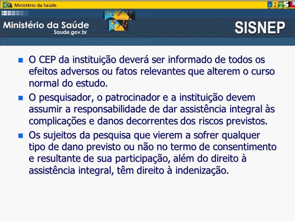 n O CEP da instituição deverá ser informado de todos os efeitos adversos ou fatos relevantes que alterem o curso normal do estudo.