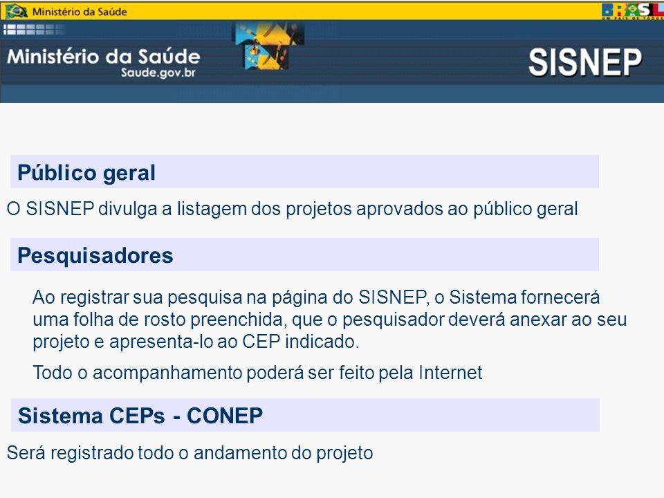Público geral O SISNEP divulga a listagem dos projetos aprovados ao público geral Pesquisadores Ao registrar sua pesquisa na página do SISNEP, o Sistema fornecerá uma folha de rosto preenchida, que o pesquisador deverá anexar ao seu projeto e apresenta-lo ao CEP indicado.