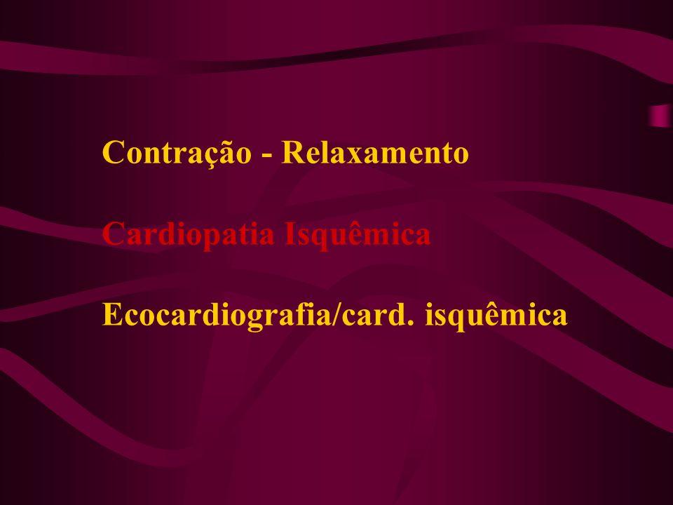 Piora da Discinergia Basal - Pós IAM (DipSE) & Melhora da Contratilidade (Viabilidade) Barros RA - Arq Bras Cardiol 1993;61(supl II):II-71 Melhora 10 dias - 23 % Melhora 30 dias - 53 % Melhora 60 dias - 14 % Sensibilidade - 96 % Especificidade - 84 % Valor Pred.