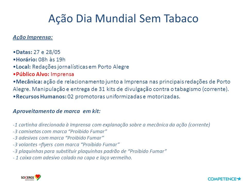 Ação Dia Mundial Sem Tabaco Assessoria de Imprensa: Fonte: Coluna do Nenê– 28/05/2010 Link: http://www.colunadonene.com.br/http://www.colunadonene.com.br/