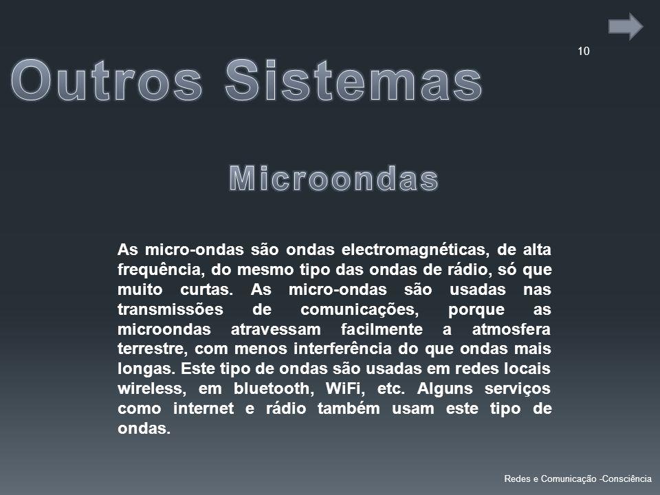 10 Redes e Comunicação -Consciência As micro-ondas são ondas electromagnéticas, de alta frequência, do mesmo tipo das ondas de rádio, só que muito curtas.