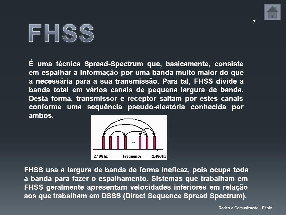 7 Redes e Comunicação - Fábio É uma técnica Spread-Spectrum que, basicamente, consiste em espalhar a informação por uma banda muito maior do que a necessária para a sua transmissão.