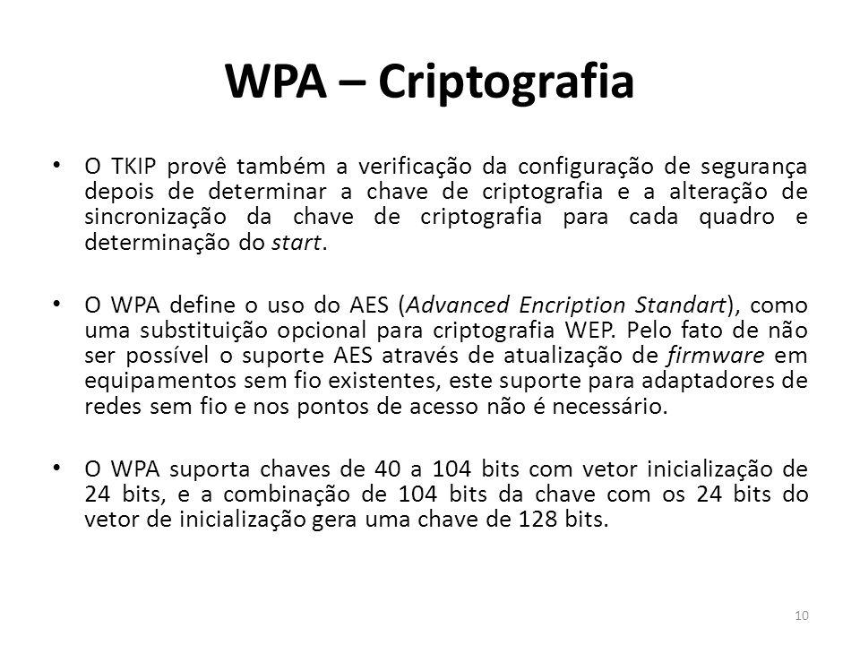 WPA – Criptografia O TKIP provê também a verificação da configuração de segurança depois de determinar a chave de criptografia e a alteração de sincro