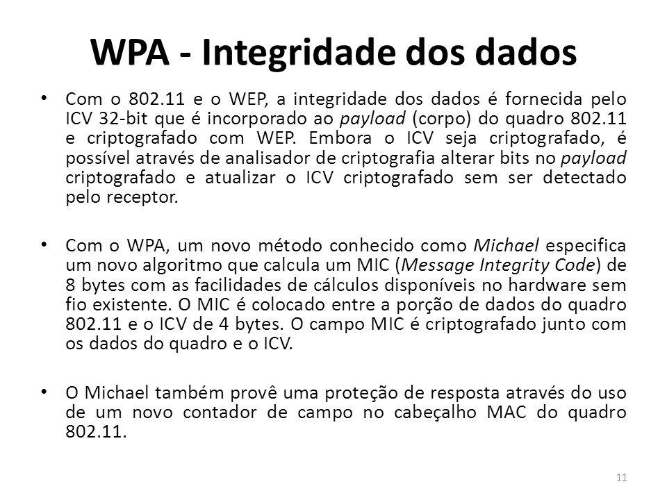 WPA - Integridade dos dados Com o 802.11 e o WEP, a integridade dos dados é fornecida pelo ICV 32-bit que é incorporado ao payload (corpo) do quadro 8