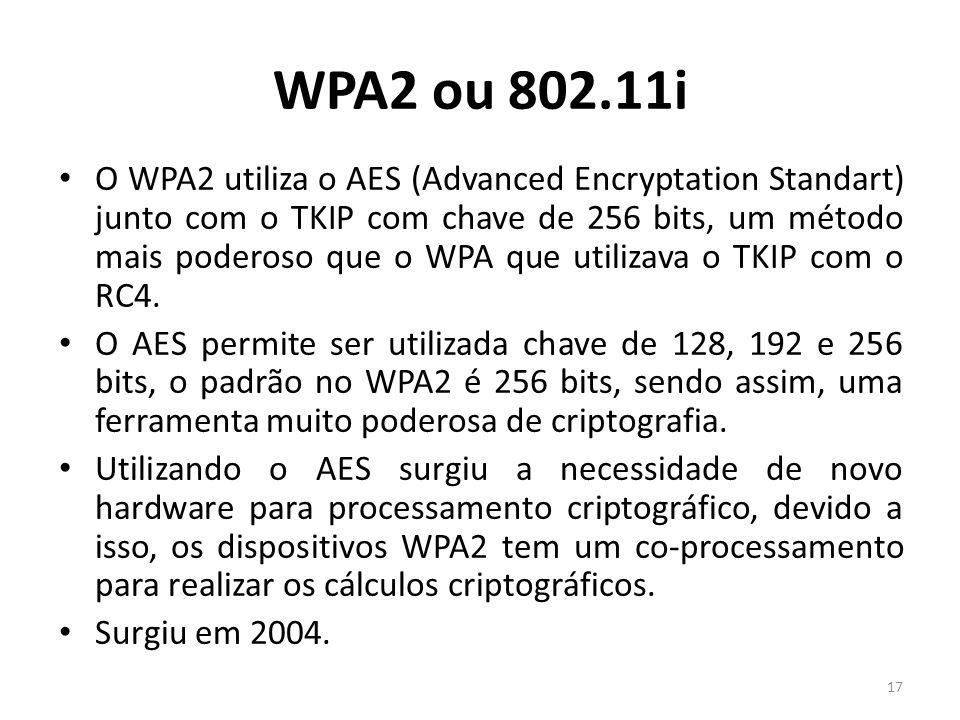 WPA2 ou 802.11i O WPA2 utiliza o AES (Advanced Encryptation Standart) junto com o TKIP com chave de 256 bits, um método mais poderoso que o WPA que ut