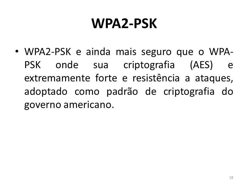 WPA2-PSK WPA2-PSK e ainda mais seguro que o WPA- PSK onde sua criptografia (AES) e extremamente forte e resistência a ataques, adoptado como padrão de