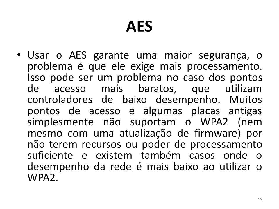 AES Usar o AES garante uma maior segurança, o problema é que ele exige mais processamento. Isso pode ser um problema no caso dos pontos de acesso mais