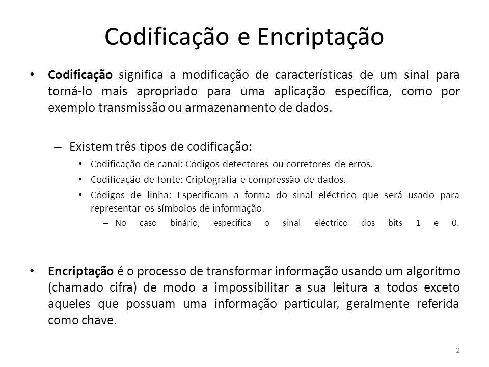 Codificação e Encriptação Codificação significa a modificação de características de um sinal para torná-lo mais apropriado para uma aplicação específi