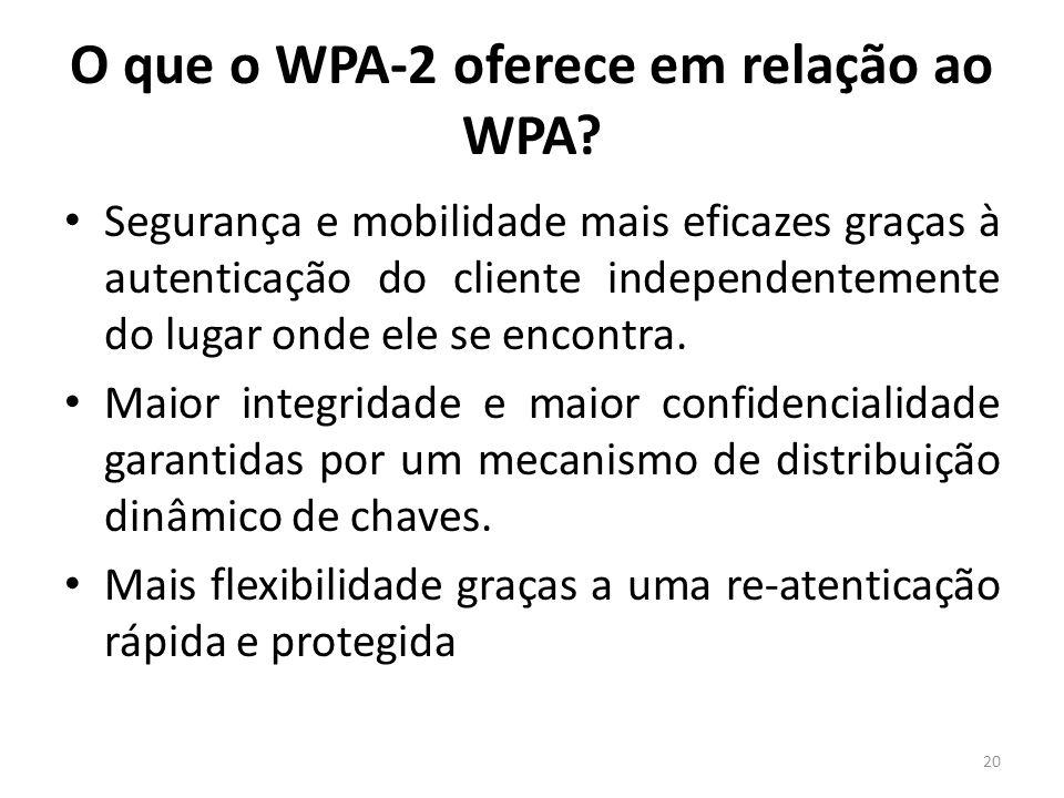 O que o WPA-2 oferece em relação ao WPA? Segurança e mobilidade mais eficazes graças à autenticação do cliente independentemente do lugar onde ele se