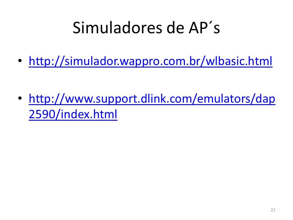 Simuladores de AP´s http://simulador.wappro.com.br/wlbasic.html http://www.support.dlink.com/emulators/dap 2590/index.html http://www.support.dlink.co