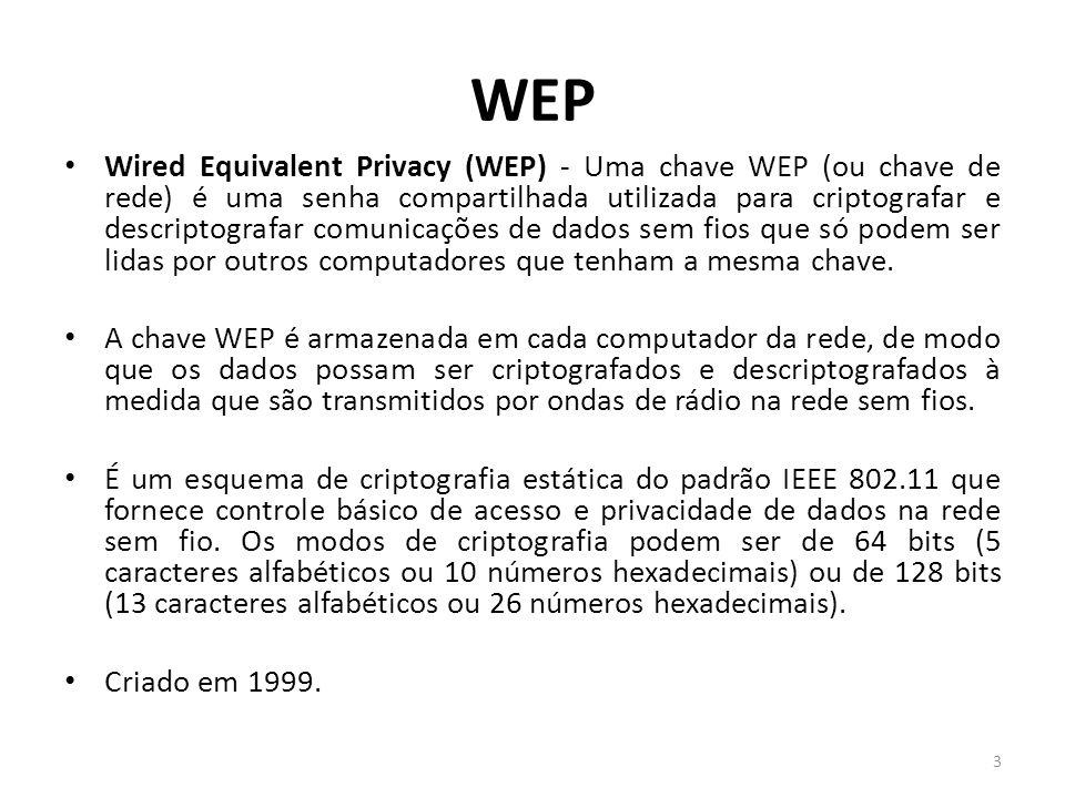 WEP Wired Equivalent Privacy (WEP) - Uma chave WEP (ou chave de rede) é uma senha compartilhada utilizada para criptografar e descriptografar comunica