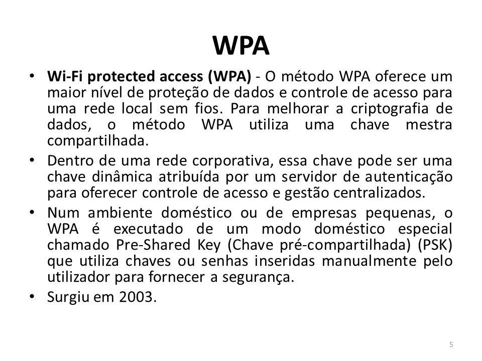 WPA Wi-Fi protected access (WPA) - O método WPA oferece um maior nível de proteção de dados e controle de acesso para uma rede local sem fios. Para me