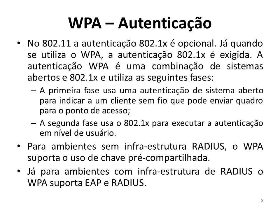 WPA – Autenticação No 802.11 a autenticação 802.1x é opcional. Já quando se utiliza o WPA, a autenticação 802.1x é exigida. A autenticação WPA é uma c