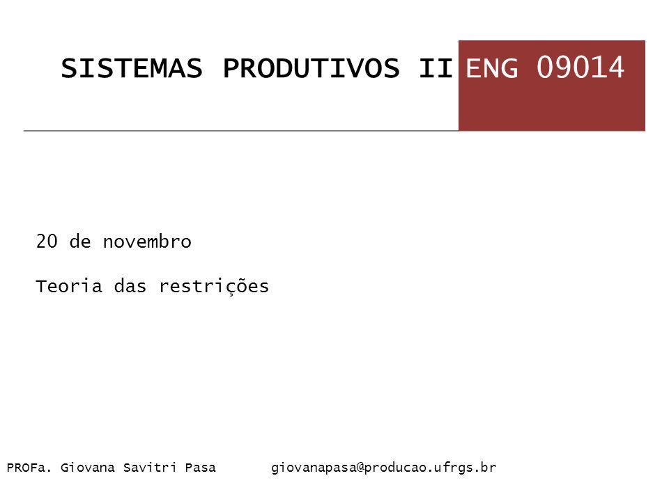 1 20 de novembro Teoria das restrições PROFa. Giovana Savitri Pasa giovanapasa@producao.ufrgs.br SISTEMAS PRODUTIVOS IIENG 09014