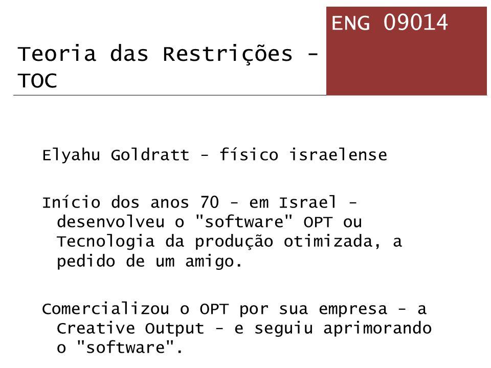 Elyahu Goldratt - físico israelense Início dos anos 70 - em Israel - desenvolveu o software OPT ou Tecnologia da produção otimizada, a pedido de um amigo.